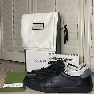 Gucci Ace Sneaker with Perforated Interlocking G